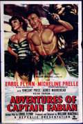 "Movie Posters:Swashbuckler, Adventures of Captain Fabian (Republic, 1951). One Sheet (27"" X41""). Errol Flynn, Agnes Moorehead and Vincent Price star in..."