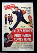 "Movie Posters:Comedy, Andy Hardy Comes Home (MGM, 1958). One Sheet (27"" X 41""). Mickey Rooney returns as an adult Andy Hardy. The one sheet is in ..."