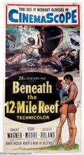 "Movie Posters:Adventure, Beneath the 12-Mile Reef (20th Century Fox, 1953). Three Sheet (41""X 81""). This was Fox's second Cinemascope picture after ..."