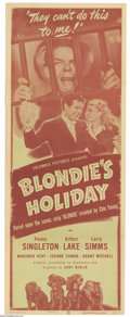 "Movie Posters:Comedy, Blondie's Holiday (Columbia, 1947). Insert (14"" X 36""). This wasthe twentieth Blondie film, created from the famous Chic Yo..."