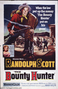 "Movie Posters:Western, Bounty Hunter, The (Warner Brothers, 1954). One Sheet (27"" X 41"").Early 50's Warner western with terrific litho of Randolph..."