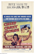 "Movie Posters:Western, Chief Crazy Horse (Universal, 1955). Window card (14"" X 22"").Unique Native American tale told entirely from the perspective..."