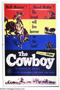 "Movie Posters:Western, Cowboy, The (Lippert, 1954). One Sheet (27"" X 41""). Cowboydocumentary narrated by Tex Ritter. Very Fine+...."
