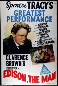 """Edison the Man (MGM, 1940). Australian One Sheet (27"""" X 40""""). Spencer Tracy stars in this biopic of the greate..."""