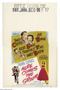 "Movie Posters:Comedy, Here Comes the Groom (Paramount, 1951). Window Card (14"" X 22"").Frank Capra's depression era story about a journalist who m..."