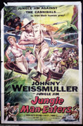 """Movie Posters:Drama, Jungle Man-Eaters (Columbia, 1954). One Sheet (27"""" X 41""""). Johnny Weissmuller as Jungle Jim, African adventurer. Colors are ..."""
