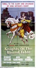 "Movie Posters:Adventure, Knights of the Round Table (MGM, R-1962). Three Sheet (41"" X 81"").This pretty re-issue poster is the MGM Cinemascope tellin..."