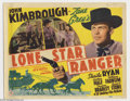 "Movie Posters:Western, Lone Star Ranger (20th Century Fox, 1941). Title Lobby Card (11"" X14""). Former Texas A&M All Star known as Jarrin' John Kim..."