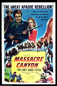 "Massacre Canyon (Columbia, 1954). One Sheet (27"" X 41""). Phil Carey of TV""s ""One Life To Live""..."