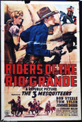 "Movie Posters:Western, Riders of the Rio Grande (Republic, 1943). One Sheet (27"" X 41"").One of Republic's later efforts with the ""Three Mequiteers..."