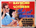 "Movie Posters:Comedy, She's Got Everything (RKO, 1937). Half Sheet (22"" X 28""). RKOcomedy/romance about a rich girl who suddenly finds herself wi..."