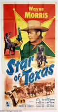 "Movie Posters:Western, Star of Texas (Allied Artists, 1953). Three Sheet (41"" X 81"").Pretty poster for this Wayne Morris ""oater."" Morris plays a T..."