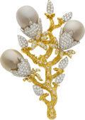 Estate Jewelry:Brooches - Pins, Diamond, South Sea Cultured Pearl, Gold Brooch . ...
