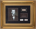 Political:Miscellaneous Political, Abraham Lincoln: Hair Strands and Funeral Flag Remnant. ...