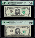 Small Size:Federal Reserve Notes, Fr. 1972-H $5 1969C Federal Reserve Note. PMG Gem Uncirculated 66 EPQ;. Fr. 1972-H* $5 1969C Federal Reserve Star Note. PM... (Total: 2 notes)