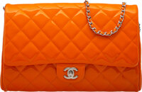 """Chanel Orange Quilted Patent Leather Flap Bag with Silver Hardware Condition: 2 11"""" Width x 7"""" Height x 2""""..."""