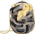 """Luxury Accessories:Bags, Judith Leiber Full Bead Black & Silver Crystal See No Evil Monkey Minaudière. Condition: 2. 4"""" Widt..."""