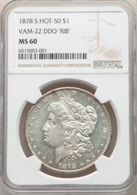 1878-S $1 Doubled RIB, VAM-22, MS60 NGC. A Hot 50 Variety. NGC Census: (0/0). PCGS Population: (2/14). MS60....(PCGS# 13...