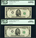 Small Size:Federal Reserve Notes, Fr. 1964-E*; F* $5 1950C Federal Reserve Star Notes. PCGS Graded Very Choice New 64PPQ; Gem New 65PPQ.. ... (Total: 2 notes)