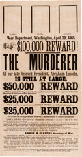 Political:Posters & Broadsides (pre-1896), [Booth, John Wilkes]: $100,000 Reward Broadside issued by the U.S. War Department, April 20, 1865....