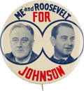 """Political:Pinback Buttons (1896-present), Franklin D. Roosevelt and Lyndon B. Johnson: One of the Premier """"coat tail"""" Political Buttons. ..."""