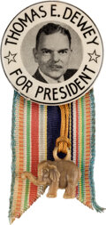Political:Ribbons & Badges, Thomas Dewey: Rare Presidential Campaign Button with Ribbon....