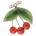 Estate Jewelry:Brooches - Pins, Diamond, Coral, Green Hardstone, White Gold Brooch, Austrian. ...