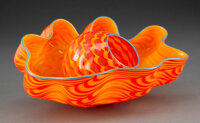 Dale Chihuly (American, b. 1941) Tiger Lily Seaform Pair, 2002 Glass 5 x 10 x 10 inches (12.7 x 25.4 x 25.4 cm) Inci...