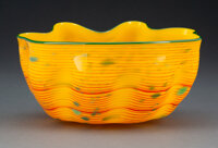 Dale Chihuly (American, b. 1941) Desert Yellow Macchia with Forest Green Lip Wrap, 2006 Glass 4 x 8-3/4 x 7-3/4 inche
