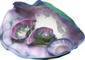 Glass, Dale Chihuly (American, b. 1941). Six-Piece Deep Violet Macchia Group with Teal Lip Wrap, 1986. Glass. 16 x 32 x 17 inch... (Total: 6 Items)
