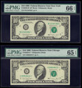 Small Size:Federal Reserve Notes, Fr. 2029-B*; G* $10 1990 Federal Reserve Star Notes. PMG Graded Gem Uncirculated 66 EPQ; Gem Uncirculated 65 EPQ.. ... (Total: 2 notes)