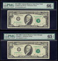 Fr. 2029-B*; G* $10 1990 Federal Reserve Star Notes. PMG Graded Gem Uncirculated 66 EPQ; Gem Uncirculated 65 EPQ. ... (T...