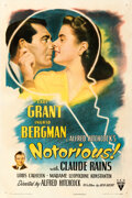 Movie Posters:Hitchcock, Notorious (RKO, 1946). Very Fine- on Linen. One Sh...