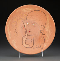 Jean Cocteau (French, 1889-1963) Faces Charger, c. 1958 Earthenware 2 x 14-1/4 inches (5.1 x 36.2 cm) Ed. 2/20 Sign