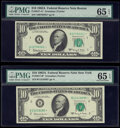 Small Size:Federal Reserve Notes, Fr. 2017-A*; B* $10 1963A Federal Reserve Notes. PMG Gem Uncirculated 65 EPQ.. ... (Total: 2 notes)