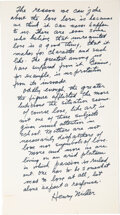 Autographs:Authors, Henry Miller Archive of Letters, Notes and Signatures. ...