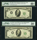 Small Size:Federal Reserve Notes, Fr. 2010-B*; C* $10 1950 Narrow Federal Reserve Star Notes. PMG Graded Extremely Fine 40 EPQ; Very Fine 30.. ... (Total: 2 notes)
