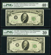Fr. 2010-B*; C* $10 1950 Narrow Federal Reserve Star Notes. PMG Graded Extremely Fine 40 EPQ; Very Fine 30. ... (Total:...