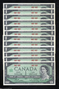 Canadian Currency: , Dozen Centennial $1s without Serial Numbers.