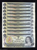 Canadian Currency: , Ten 1973 $1s.