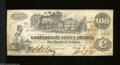 Confederate Notes:1862 Issues, T39 $100 1862.. Three interest paid stamps adorn this ...