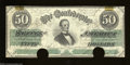 Confederate Notes:1862 Issues, T50 $50 1862. Two half moon punches were used to cancel ...