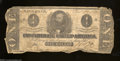 Confederate Notes:1862 Issues, T55 $1 1862. Furling is evident along the edges of this ...