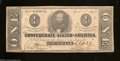 Confederate Notes:1863 Issues, T62 $1 1863. A diagonal fold and some edge handling that ...