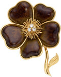 Estate Jewelry:Brooches - Pins, Van Cleef & Arpels Diamond, Wood, Gold Brooch, French. ...