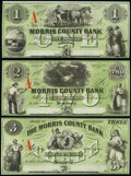 Morristown, NJ- Morris County Bank $1; $2; $3 18__ G8e; G16e; G26d Remainders About Uncirculated. ... (Total: 3 notes)