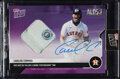 Baseball Cards:Singles (1970-Now), 2020 Topps Now Carlos Correa (Autograph, Game Used Base) #387B, #'d 3/25....
