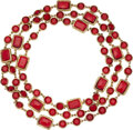 """Luxury Accessories:Accessories, Chanel Red Gripoix Sautoir Necklace. Condition: 2. 60"""" Length. ..."""