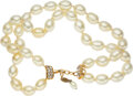 """Luxury Accessories:Accessories, Chanel Double Strand Pearl Necklace. Condition: 3. 1.25"""" Width x 16"""" Length. ..."""