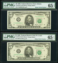 Small Size:Federal Reserve Notes, Radar Serial Number Fr. 1978-F; H $5 1985 Federal Reserve Notes. PMG Gem Uncirculated 65 EPQ.. ... (Total: 2 notes)
